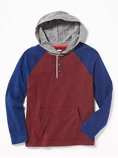 Color-Blocked Raglan Henley Hoodie for Boys