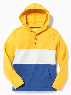 Color-Blocked Henley Hoodie for Boys