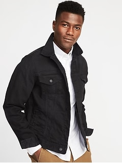Built-In Flex Black Denim Jacket for Men