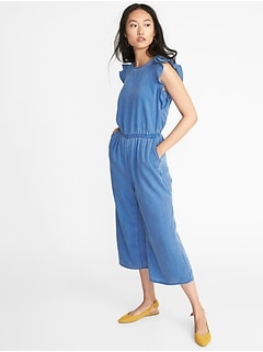 Waist-Defined Tencel&#174 Flutter-Sleeve Jumpsuit for Women