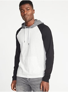 Soft-Washed Color-Block Hoodie for Men