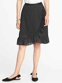 Crinkle-Crepe Faux-Wrap Skirt for Women