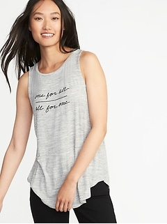 Luxe High-Neck Graphic Swing Tank for Women