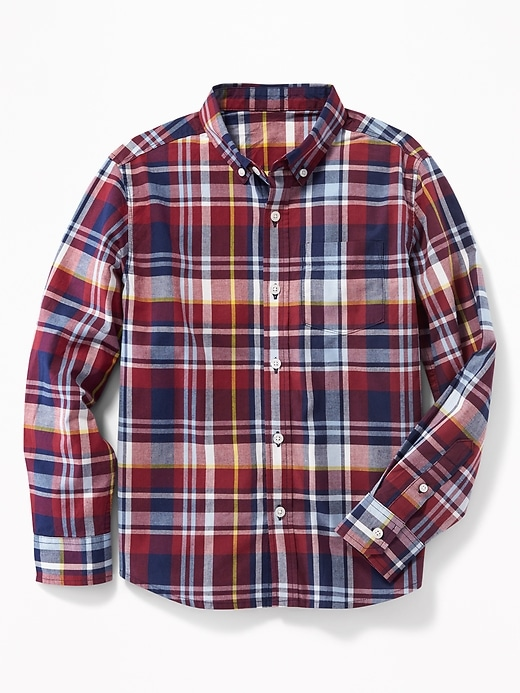 09f8ea4b Shoptagr | Plaid Built In Flex Classic Shirt For Boys by Old Navy