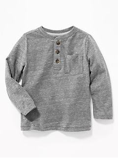 Slub-Knit Pocket Henley for Toddler Boys