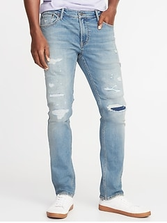 Skinny Built-In Flex Distressed Jeans for Men