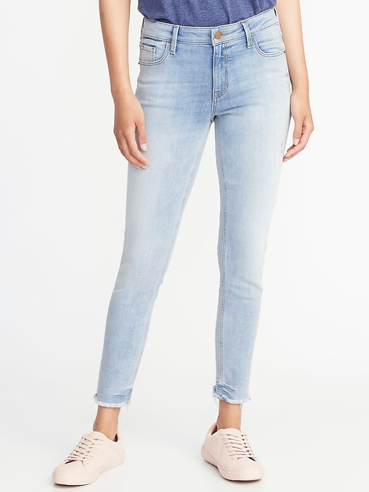 Mid Rise Rockstar Super Skinny Raw Edge Ankle Jeans For Women by Old Navy