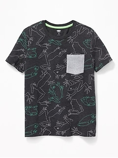 Printed Crew-Neck Pocket Tee for Boys