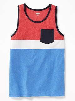 Color-Blocked Pocket Tank for Boys