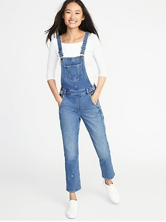 Straight-Leg Denim Overalls for Women