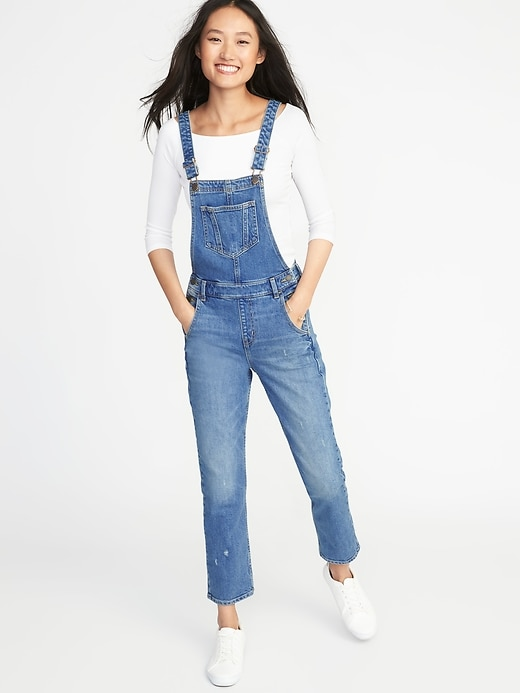 Straight Leg Denim Overalls For Women by Old Navy