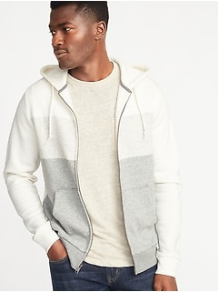Classic Color-Block Zip Hoodie for Men