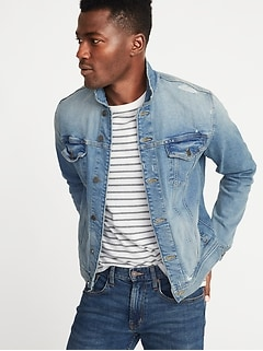 Distressed Built-In Flex Denim Trucker Jacket for Men