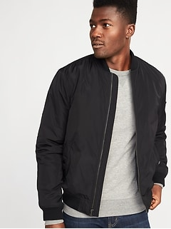 Water-Resistant Nylon Bomber Jacket for Men