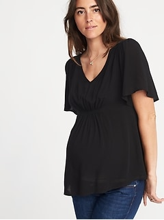 Maternity Lightweight Flutter-Sleeve Top