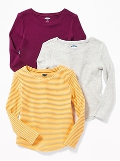 3-Pack Long & Lean Thermal Tees for Toddler Girls