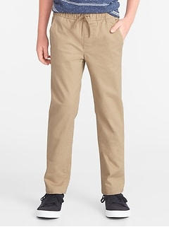 Relaxed Slim Elasticized-Waist Twill Pants for Boys