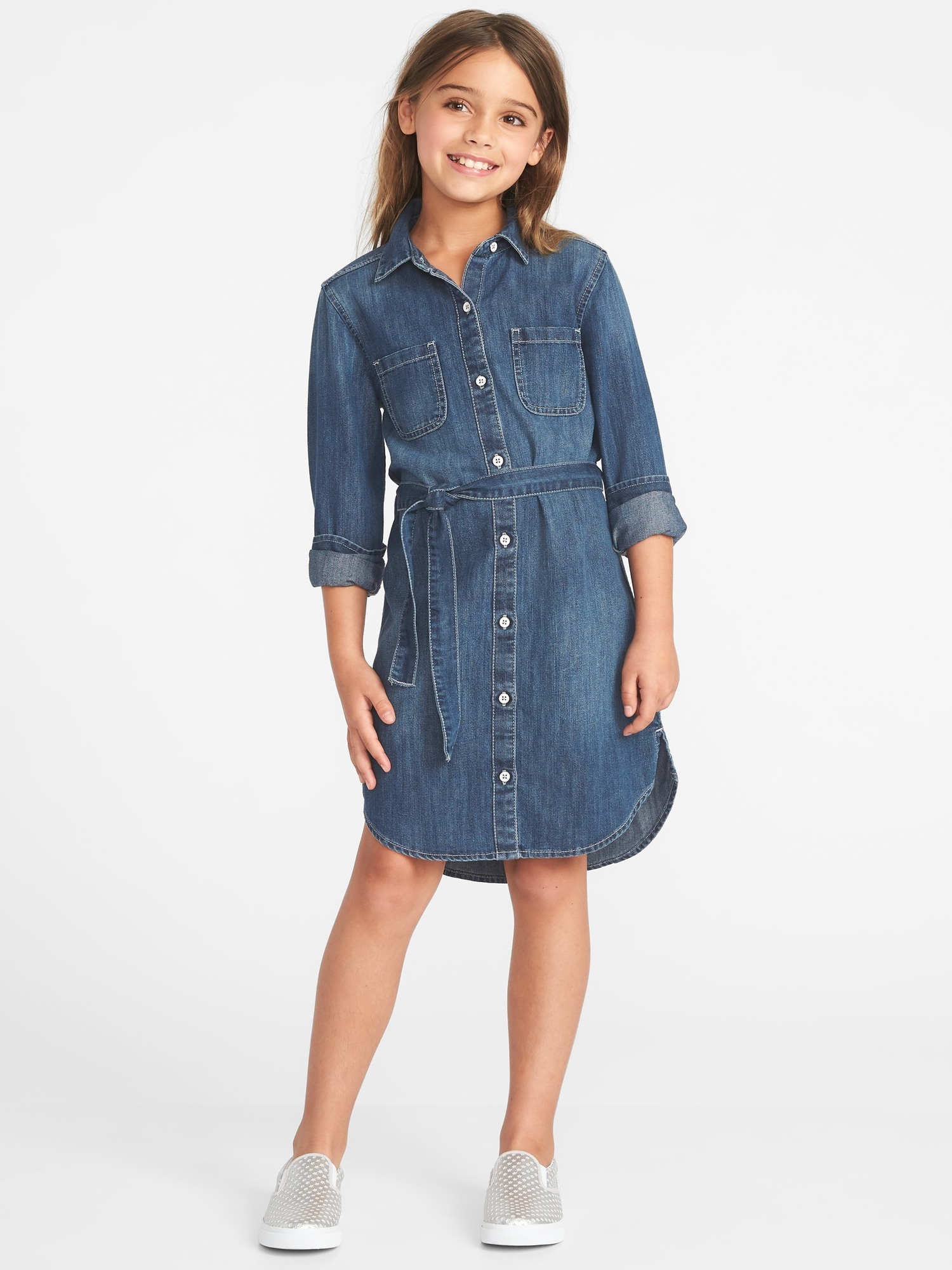 e318e11a810 ... Denim Tie-Belt Shirt Dress for Girls