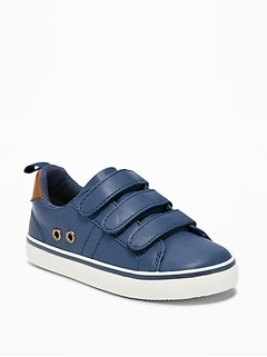 Triple-Strap Faux-Leather Sneakers For Toddler Boys
