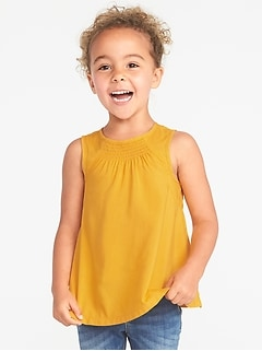 Sleeveless Smocked Top for Toddler Girls