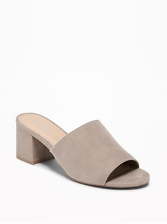 Sueded Mule Block-Heel Sandals for Women