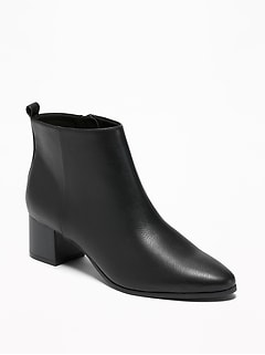 Faux-Leather Ankle Boots for Women