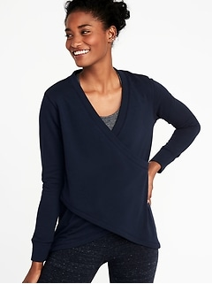 Relaxed French-Terry Cross-Front Sweatshirt for Women