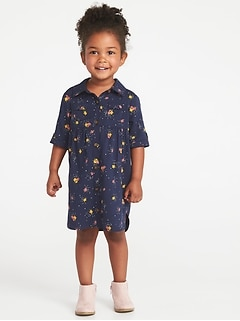 Printed Twill Shirt Dress for Toddler Girls