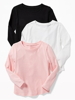 3-Pack Long & Lean Scoop-Neck Top for Toddler Girls