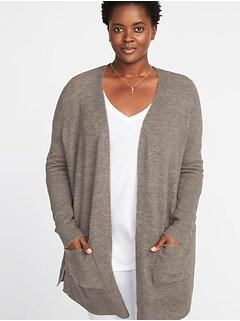Plush-Knit Long-Line Open-Front Plus-Size Sweater