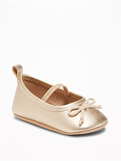 Metallic Faux-Leather Ballet Flats for Baby