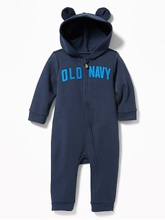 Hooded Logo-Graphic Zip One-Piece for Baby
