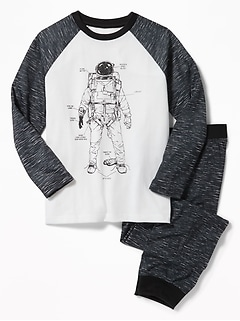 Graphic Raglan-Sleeve Sleep Set for Boys