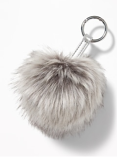 Faux-Fur Pom-Pom Key Chain for Women