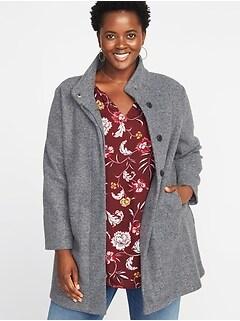 Bouclé Funnel-Neck Plus-Size Coat