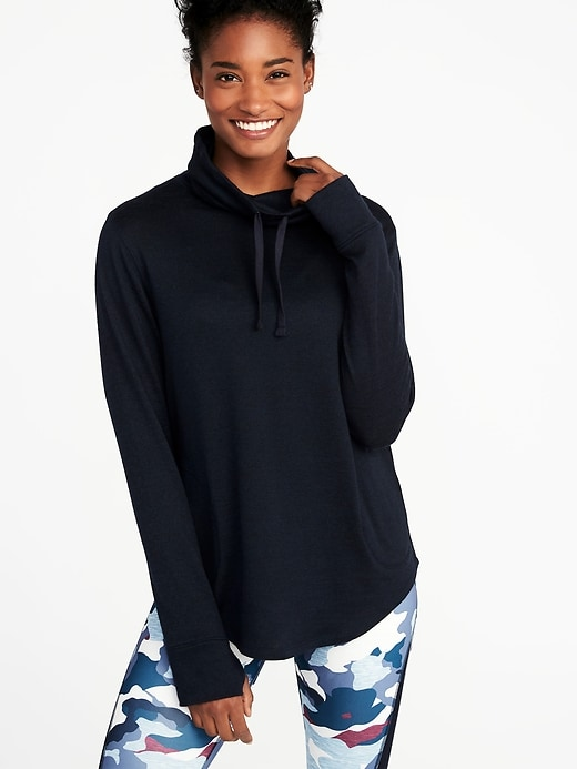 Funnel-Neck Sweater-Knit Performance Pullover for Women
