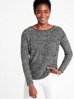 Lightweight Marled Bateau Sweater for Women