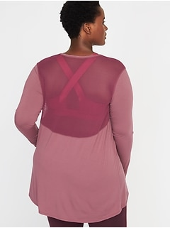 Jersey Mesh-Back Plus-Size Performance Top