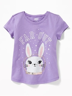 Long & Lean Graphic Scoop-Neck Tee for Toddler Girls