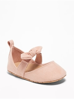 Sueded Bow-Tie Flats for Baby
