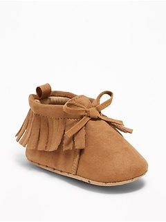 Fringed Moccasin Booties for Baby