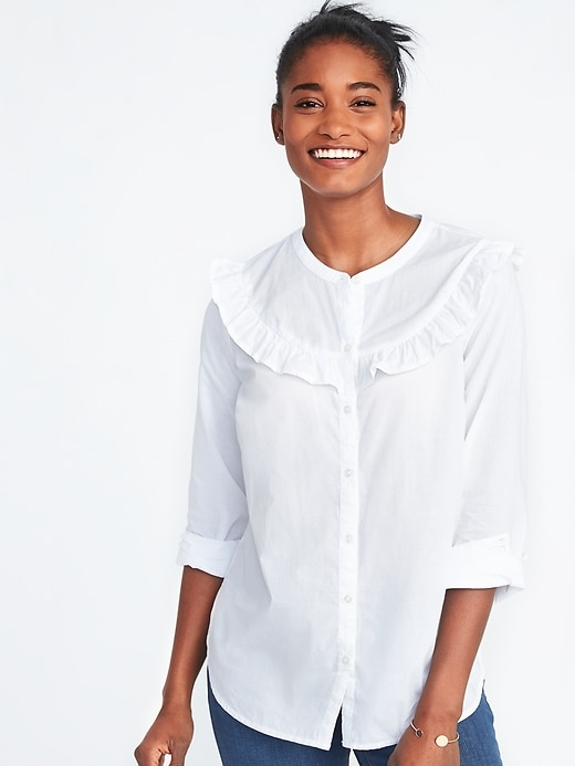 Relaxed Ruffle Trim Shirt For Women by Old Navy