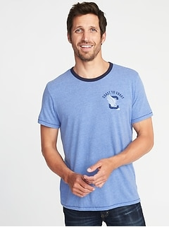 """Coast to Coast"" Varsity-Style Graphic Tee for Men"
