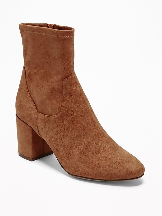 Faux Suede Slim Calf Block Heel Boots by Old Navy