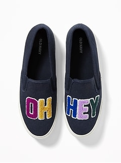 """Oh Hey"" Graphic Slip-Ons for Women"