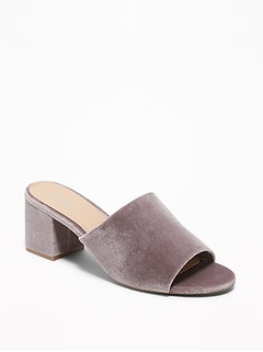 Velvet Block-Heel Mules for Women