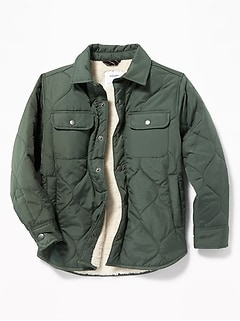 Water-Resistant Quilted Shirt Jacket for Boys