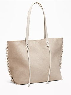 Faux-Suede Whipstitched East-West Tote for Women