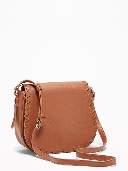 Whip Stitch Crossbody Saddle Bag For Women by Old Navy