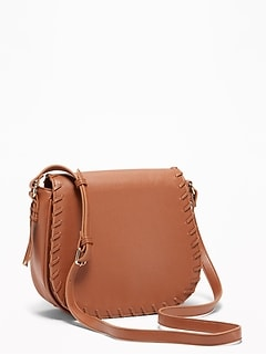 Whip-Stitch Crossbody Saddle Bag for Women